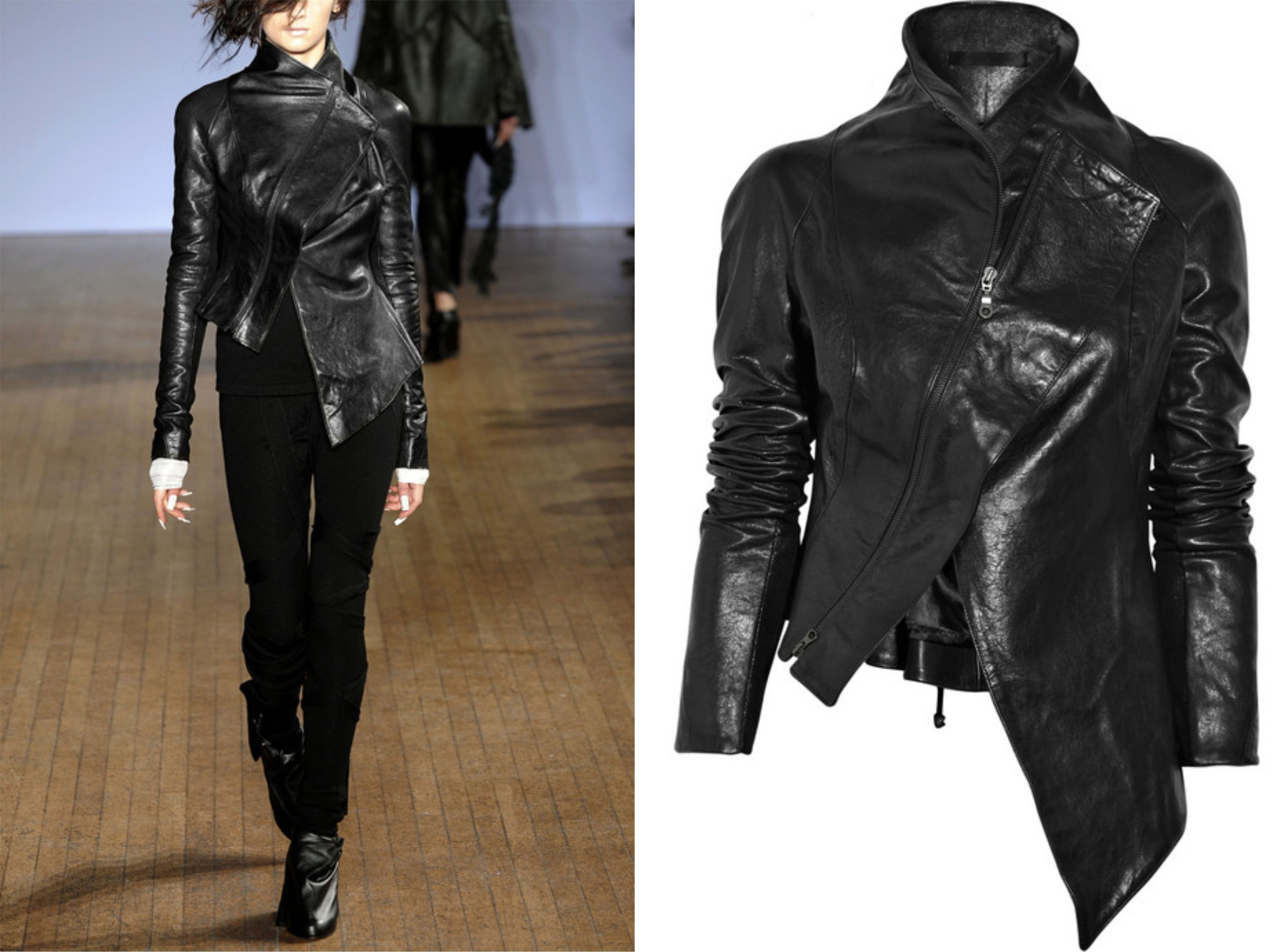 Aminaka-Wilmont-Asymmetric-leather-jacket catwalk