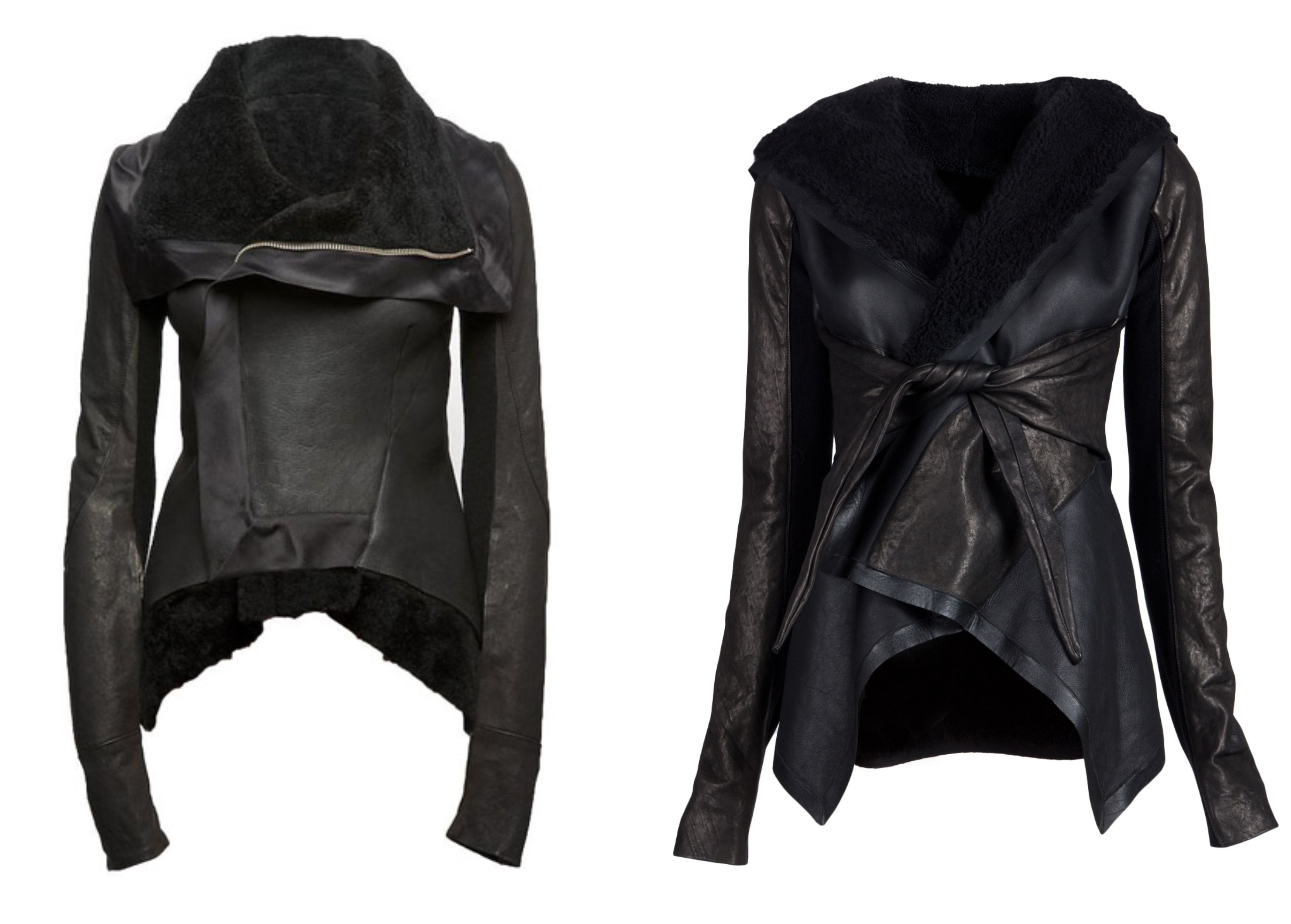 rick owens shearling leather jackets