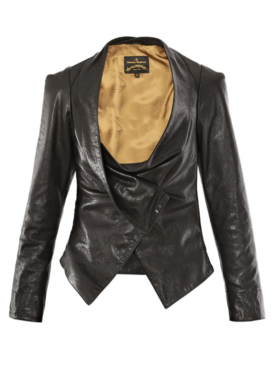 VIVIENNE WESTWOOD ANGLOMANIA Drape-Front Leather Jacket